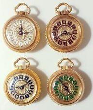 VINTAGE POCKET WATCH LADY MONACHINA YELLOWGOLD NOS ENAMEL DIAL FOUR COLORS SWISS