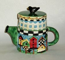 Collectable, Unusual Saura China Tea Pot, Debbie Mumm, Hand Painted, Bird House
