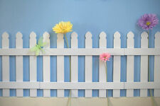 White Wooden Picket Fences for Kids Room Wall Border Garden Room Decor