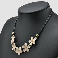 Fashion Women Crystal Flower Charm Choker Bib  Chunky Statement Chain Necklace