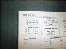 1960 Chevrolet Corvair Series 500-700 140 CI SUN Tune Up Chart Great Condition!