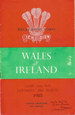 WALES v IRELAND 12th Mar 1955 RUGBY PROGRAMME at CARDIFF - GOOD CONDITION