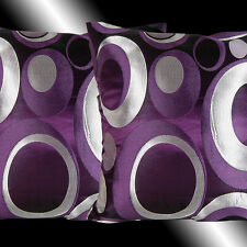 2X NEW ABSTRACT PURPLE COLORFUL EMBROIDERY THROW PILLOW CASES CUSHION COVERS 17""