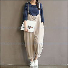 2017 Women Casual Loose Cotton Linen Strap Dungaree Overalls Jumpsuit Trousers