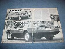 Custom Design Associates Ferrari 204 GTF Kit Car Vintage Article ---From 1982---