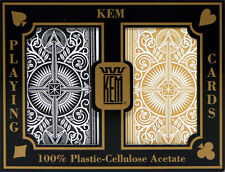 2 Deck KEM Arrow Black Gold Bridge Jumbo Index Playing Cards 100% Plastic Narrow