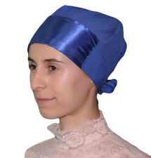 Islamic Women's Satin Hijab Bonnet Underscarf Tie Back Blue