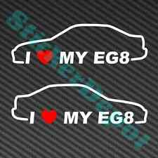"2 I HEART MY EG8 DECAL SIZE 7""x2"" VINYL STICKER LOVE HONDA CIVIC SEDAN JDM"