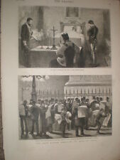 Italy mourns death King Victor Emmanuel II of Italy 1878 old print