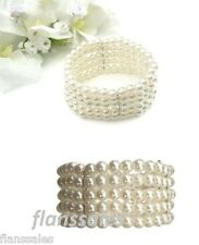 Stylish 5 Row Faux Pearl Bead bridal Stretch Corsage, Bracelet, Wedding,