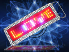 Yellow SCROLLING LED BELT BUCKLE with rhinestone