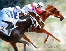 Racehorse Art PRINT Equine Equestrian Derby Thoroughbred race horse Quarter