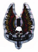 Crâne & dagger suzuki motos autocollant film métallique