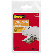 "Scotch Thermal Laminating Heat Pouches 4""x6"" 20 Pack 3M"