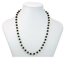 Black Spinel AAA Necklace Large Faceted Rondelles 14k Gold Vermeil 24 Inch