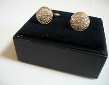 Mens Gold Finish Simulated Lab Diamond Round Cuff Links 15 mm