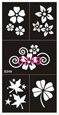 Tattoo decal stencil body jewllery self adhesive multiple motif flower S249
