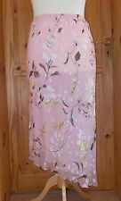DAVID HOUSE pink blue green yellow floral SILK chiffon skirt asymmetric 16 44