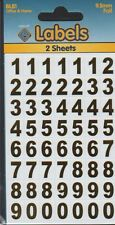 Self Adhesive Labels Numbers 9mm Gold - BL81