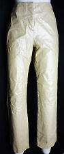 Sz 4 Hugo Buscati Leather Pants Ivory Shimmer Flat Front Lined