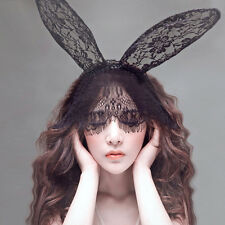 Halloween Party Rabbit Bunny Ears Headband With Lace Eye Mask Black 10 inch