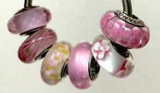 6X Authentic Pandora 925 ale  silver beads  charm pink daisies blossom flower 8