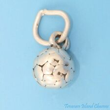 SMALL SOCCER BALL FUTBOL 3D .925 SOLID Sterling Silver Charm EURO FOOTBALL