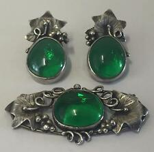 ART NOUVEAU SILVER & GLASS PIN BROOCH & EARINGS - CHARLES HORNER LIBERTY ERA