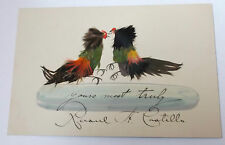 antique card  with cock fighting  scene  of pen  ink and feather detail