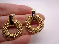 VINTAGE CIRCULAR STUD EARRINGS GOLD TONE METAL MOVEMENT PARTY PROM FESTIVAL