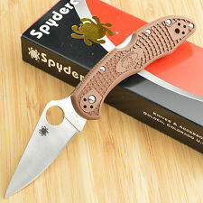 Spyderco Delica 4 Brown FRN Flat Ground VG-10 Lockback Knife C11FPBN