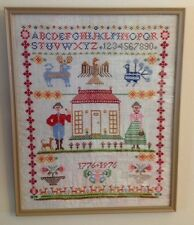 Vintage Completed Cross Stitch Alphabet Framed House American Sampler 17 X 21
