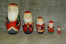 Vintage Christmas Wood Santa Clause Nesting Dolls Set of 5