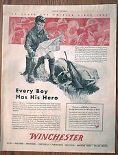 Winchester Arms Boy Scout WWII Ad, original vintage