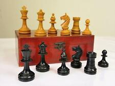 ANTIQUE EARLY 20th C GERMAN CHESS SET STAUNTON PATTERN. K 58 mm + BOX