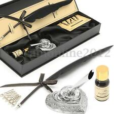 Vintage Black Goose Feather Quill Pen Metal Nibs Dip Writing Ink Set Collectable