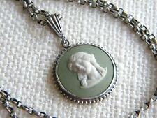 vintage WEDGWOOD GREEN JASPER pendant necklace SILVER Classical cameo