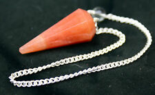 "Peach Aventurine Vogel Type Crystal Pendulum on 7"" Silver Plated Chain, Reiki"