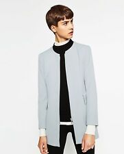 ZARA BLUE/GREY CREPE FROCK COAT SIZE MEDIUM (BNWT)