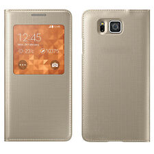 SLIM Pois Pelle Samsung Galaxy Alpha S Custodia flip cover View chip NFC GOLD