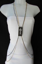 New Women Pewter Gold Fashion Body Chain Necklace Metal Chains Cross Pendant