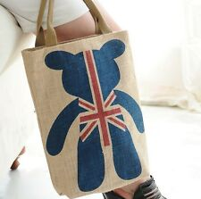 New Blue Bear UK Flag Women Shopping Tote Bag Handbag Thick Quality Linen