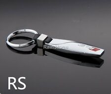 AUDI RS Key Ring NEW - Silver Chrome Metal - Car Key Ring - Bullet