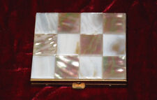 VINTAGE MOTHER OF PEARL & BRASS Powder Compact with Mirror