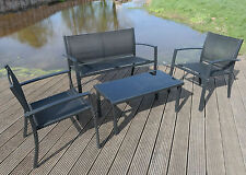 4 PIECE GARDEN FURNITURE PATIO SET BLACK TEXTOLINE BENCH CHAIRS GLASS TABLE