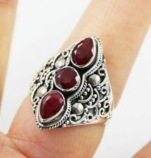 Unusual Solid 925 Sterling Silver & Cut Ruby Ring jewellery, P1/2 , 8