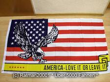 Fahnen Flagge USA Adler America Lovet IT OR Leaveit Sonderposten - 90 x 150 cm