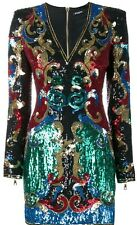 *BALMAIN* Heavily Beaded & Sequined Mini Dress w/Plunging V-Neck NWT FR 38