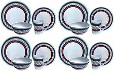 16pc Melamine Outdoor Dinner Set Plates Bowls Cups BBQ Camping Fishing Picnic BN