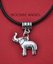 Antique Silver Plt African Elephant Pendant Necklace Ladies Mens Gift Zoology